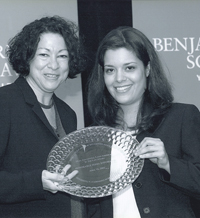 "Jill Cadre, Esq. with the Honorable Sonia M. Sotomayor, Supreme Court Justice of the United States presenting the ""Most Influential Latina in the Law Award"" in 2002"